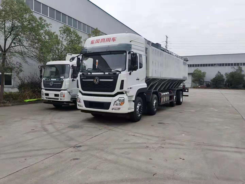国六新款东风天龙20吨散装饲料运输车图片