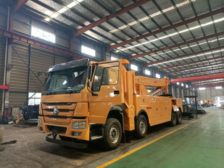 25吨-30吨重型救援拖车图片重汽和陕汽前四后八清障车价格外型对比图片