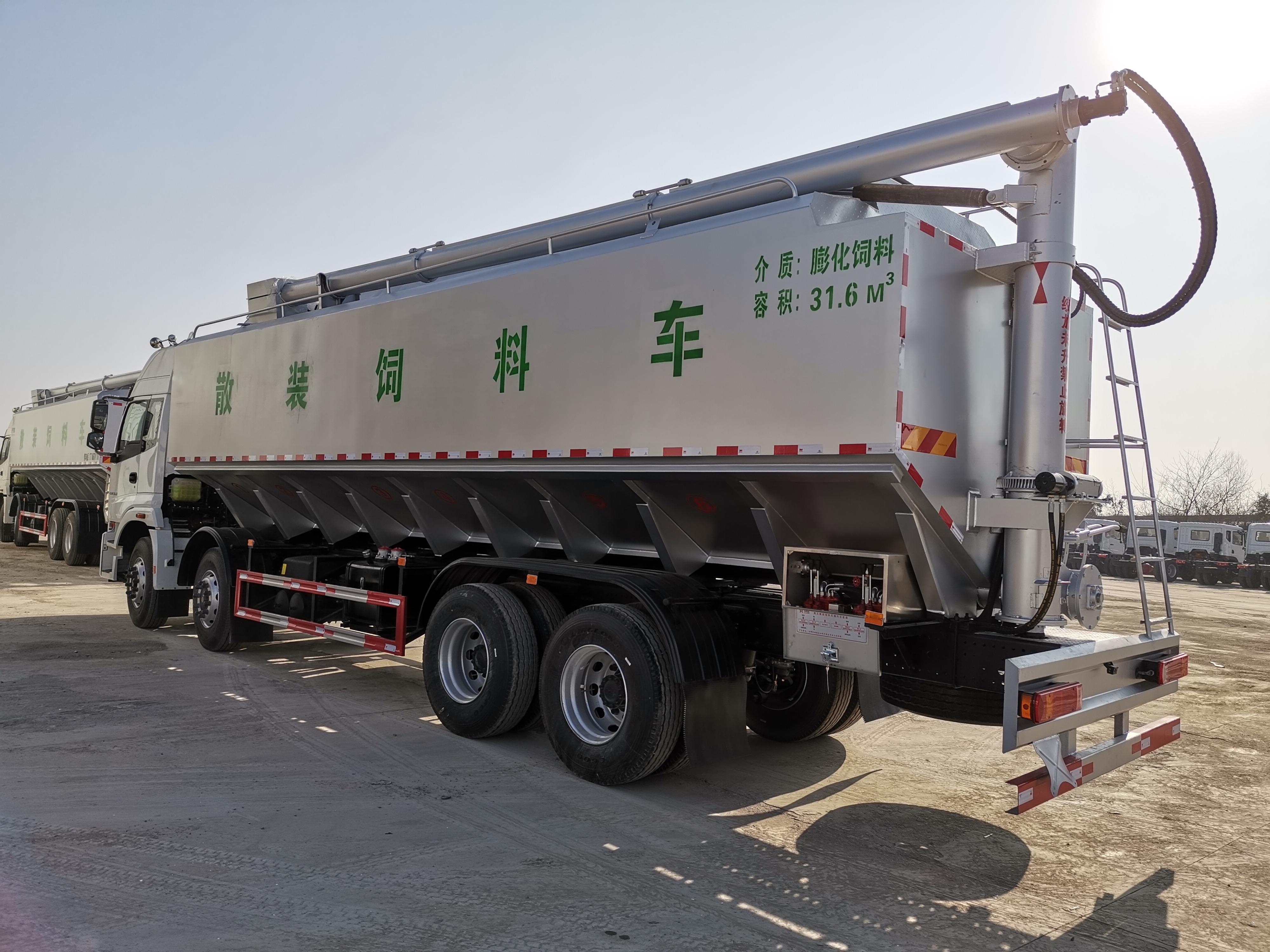 20吨国六东风天龙前四后八铝合金散装饲料车360马力源头厂家货源