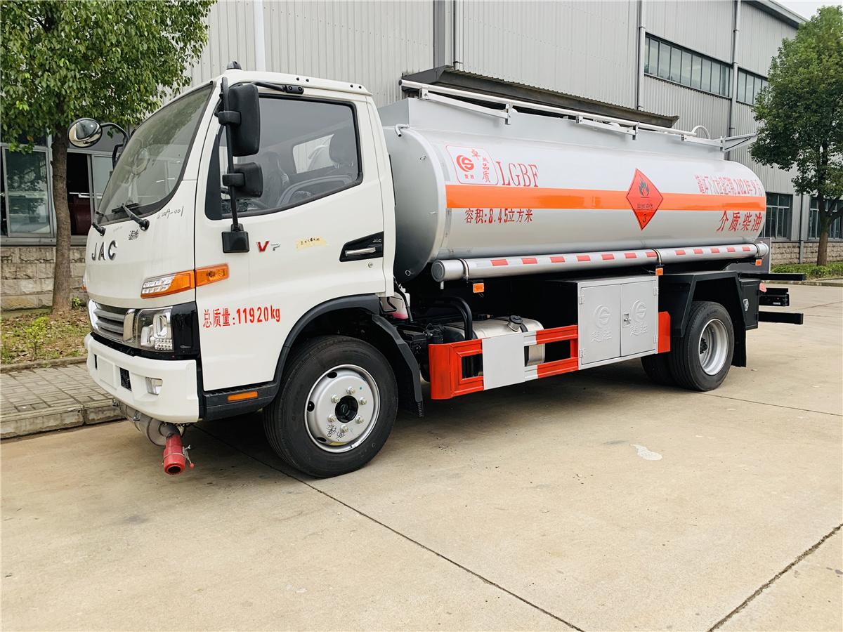 楚胜8吨油罐车 江淮国六8.45方流动加油车全新配置