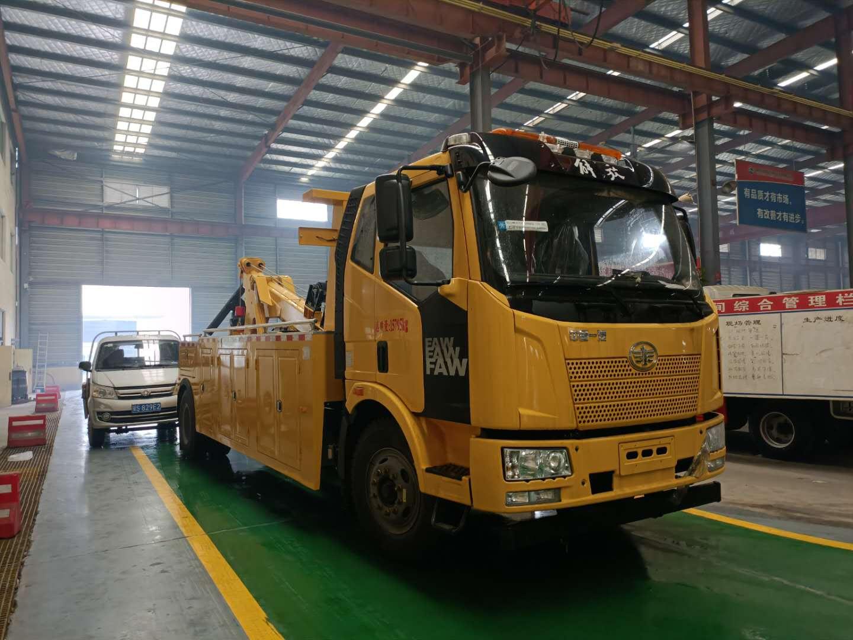 13吨解放救援拖车价格240马力解放J6清障车厂家报价仅售28.8图片