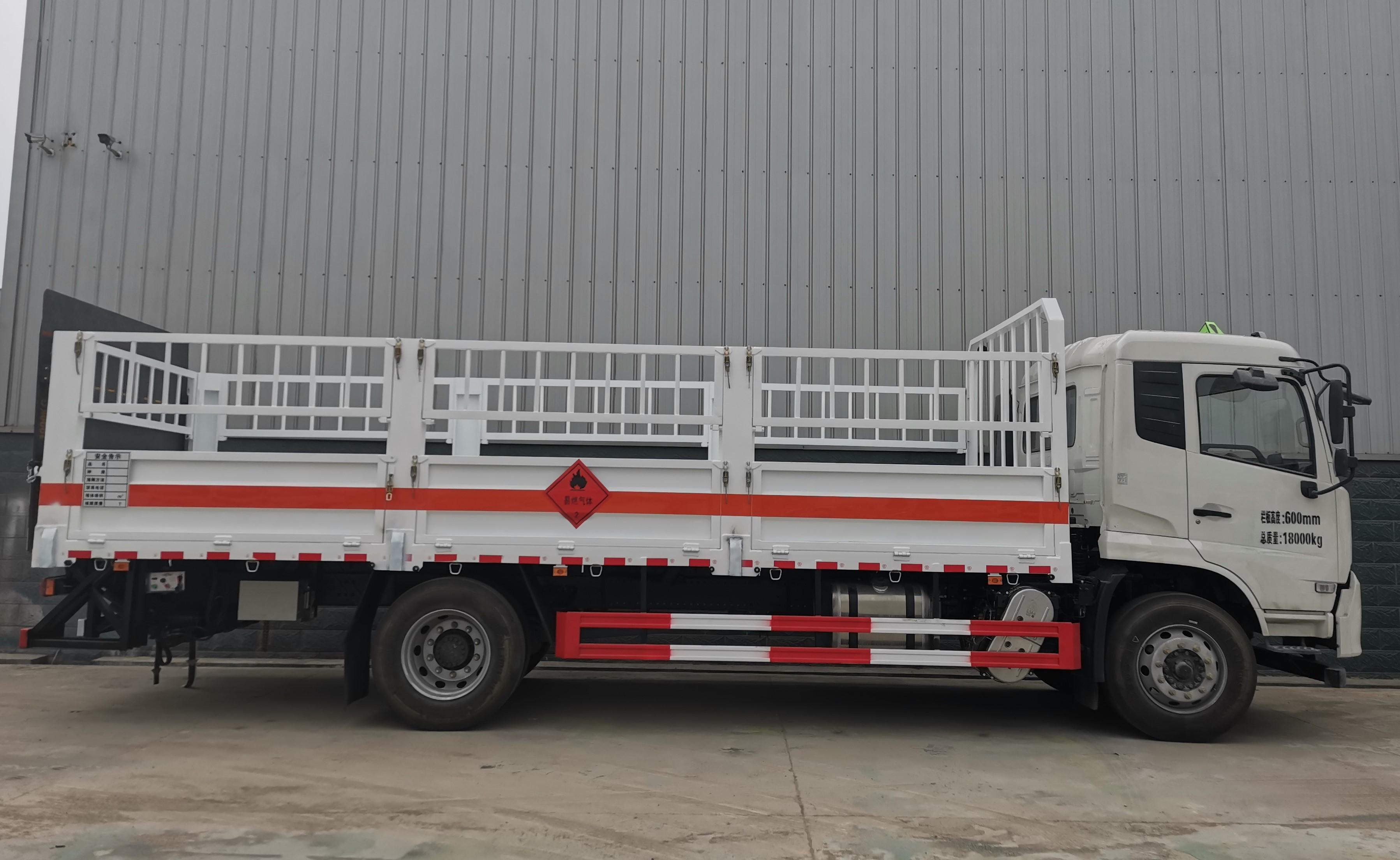 10吨货箱6米2国六天锦高栏式气瓶运输车_10吨黄牌马槽式气瓶车