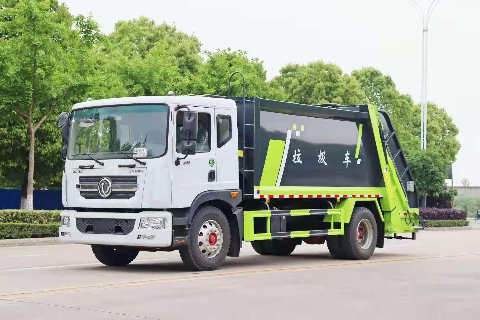 压缩垃圾车组成部分图片和压缩车价格后置挂桶选装配置