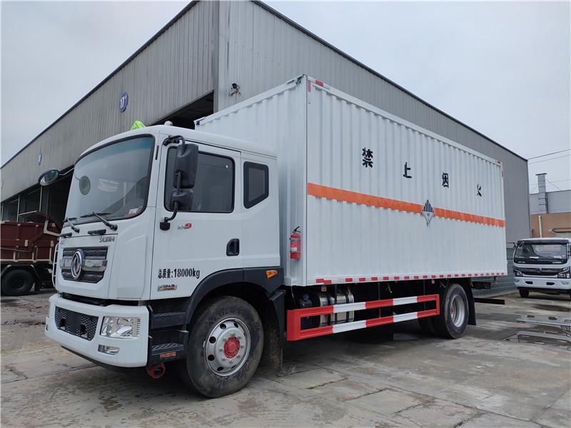 新规国六东风D9杂项6米8危险品厢式运输车批发价包上户视频图片