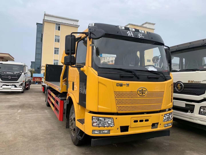 10吨解放J6一拖二道路救援拖车国五价格配置10吨板10吨后托臂图片