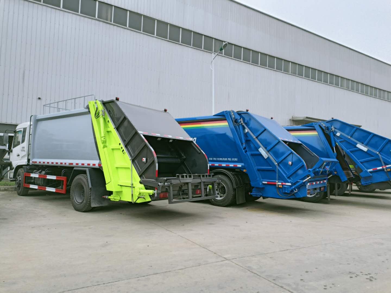 14方东风压缩垃圾车和18方压缩垃圾车工作原理操作视频图片