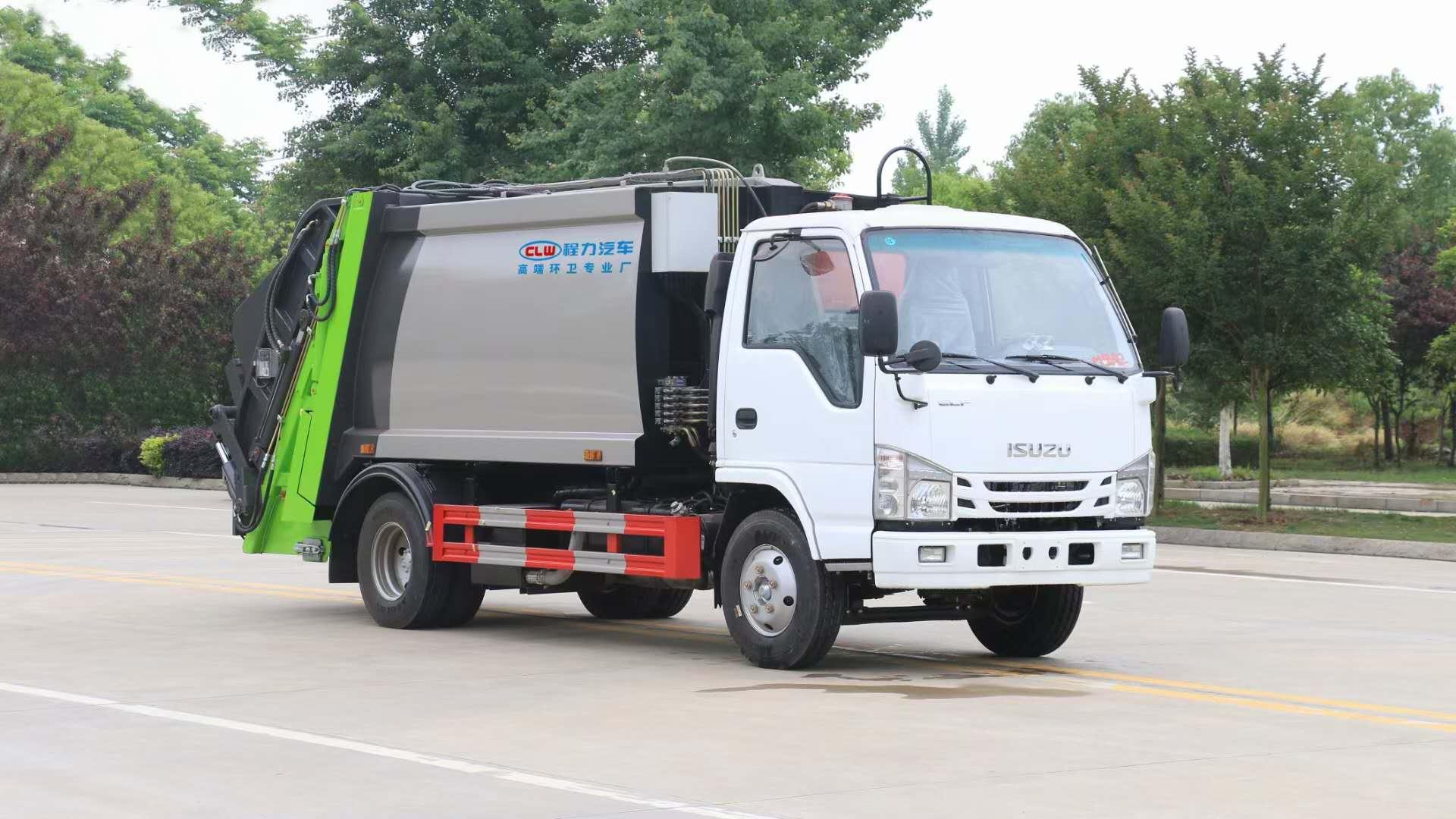 五十鈴壓縮車廠家圖片掛桶垃圾收集運輸車小三角斗配置價格圖片