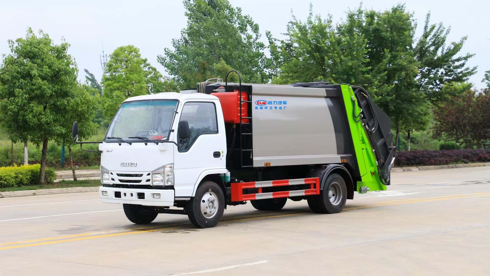 6方國六五十鈴壓縮垃圾車廠家掛桶垃圾車價格小三角斗圖片圖片