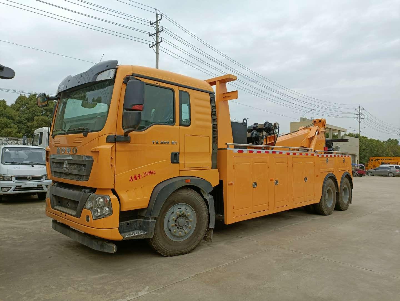 重汽豪沃后八轮重型道路拖车价格双10吨卷扬救援拖载80吨100吨