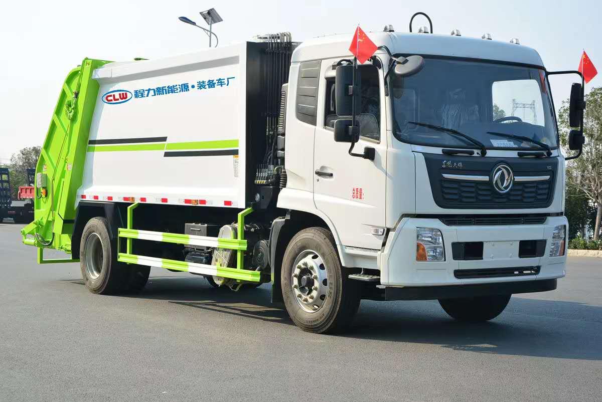 东风天锦压缩式挂桶垃圾车厂家包上户送车上门14方容积价格图片