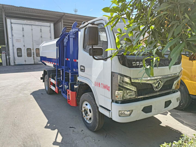 国六东风小多利卡挂桶垃圾车自卸式推杆侧装240L垃圾桶价格图片图片