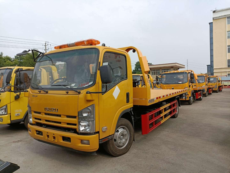 黄牌庆铃五十铃一拖二清障车价格图片5吨上装拖车厂家图片