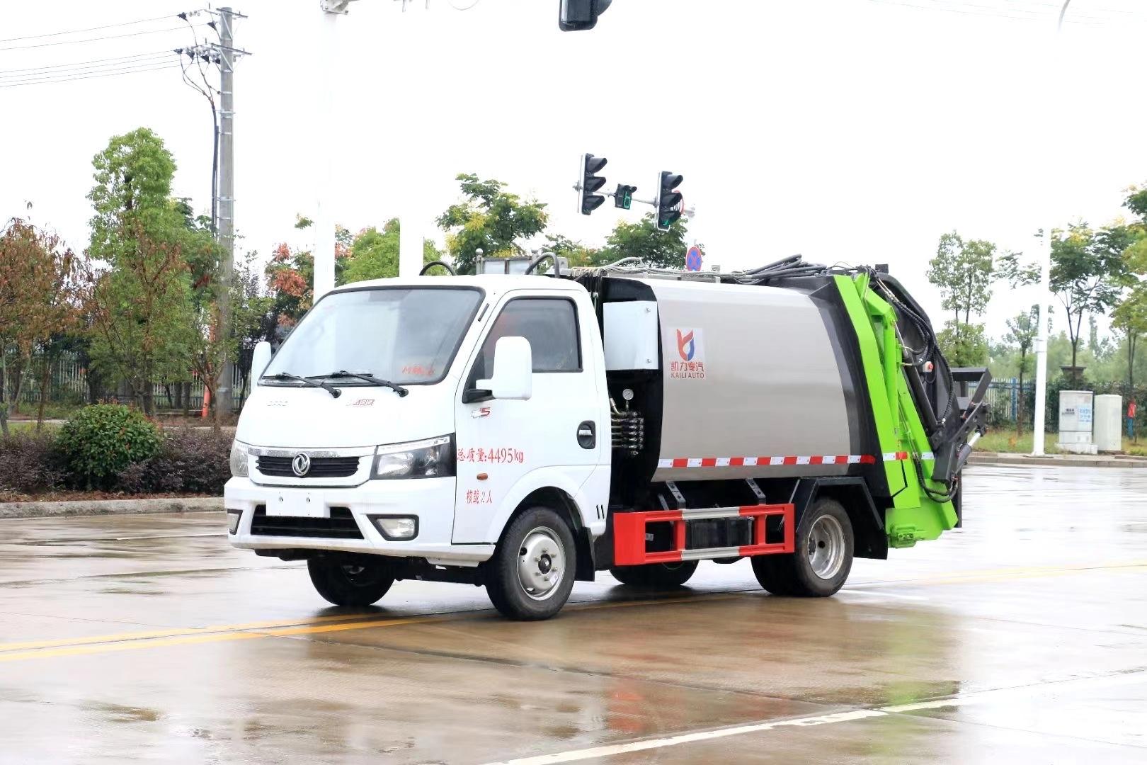国六小型3方蓝牌不超重东风涂逸压缩垃圾车程力垃圾车报价 C照可开地下室专用垃圾车