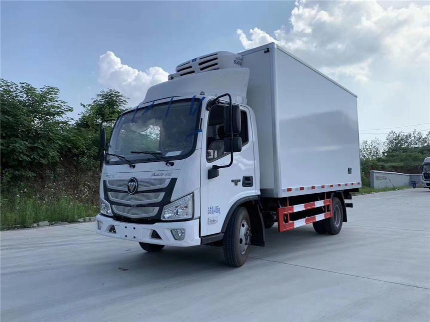 國六4.2米藍牌歐馬可冷藏車-15度凍肉海鮮瓜果蔬菜運輸車圖圖片