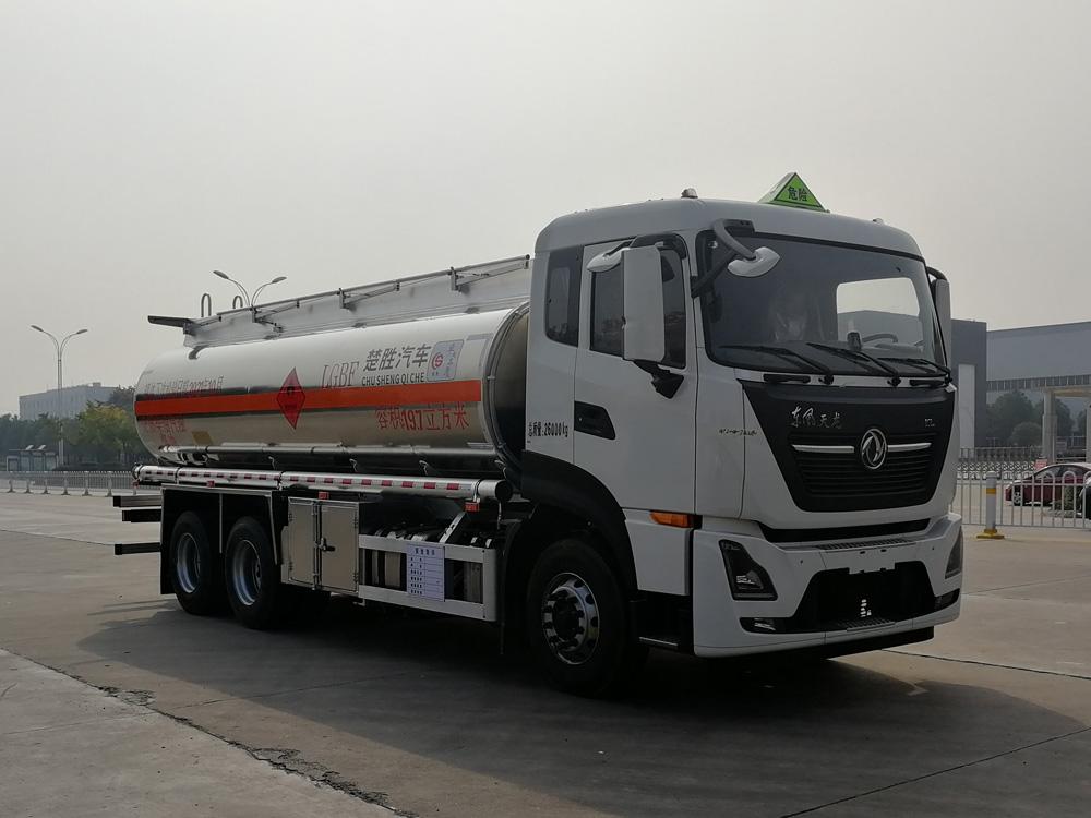 国六东风天龙后双桥15.6吨铝合金油罐车-厂家专业订制很低报价包上户