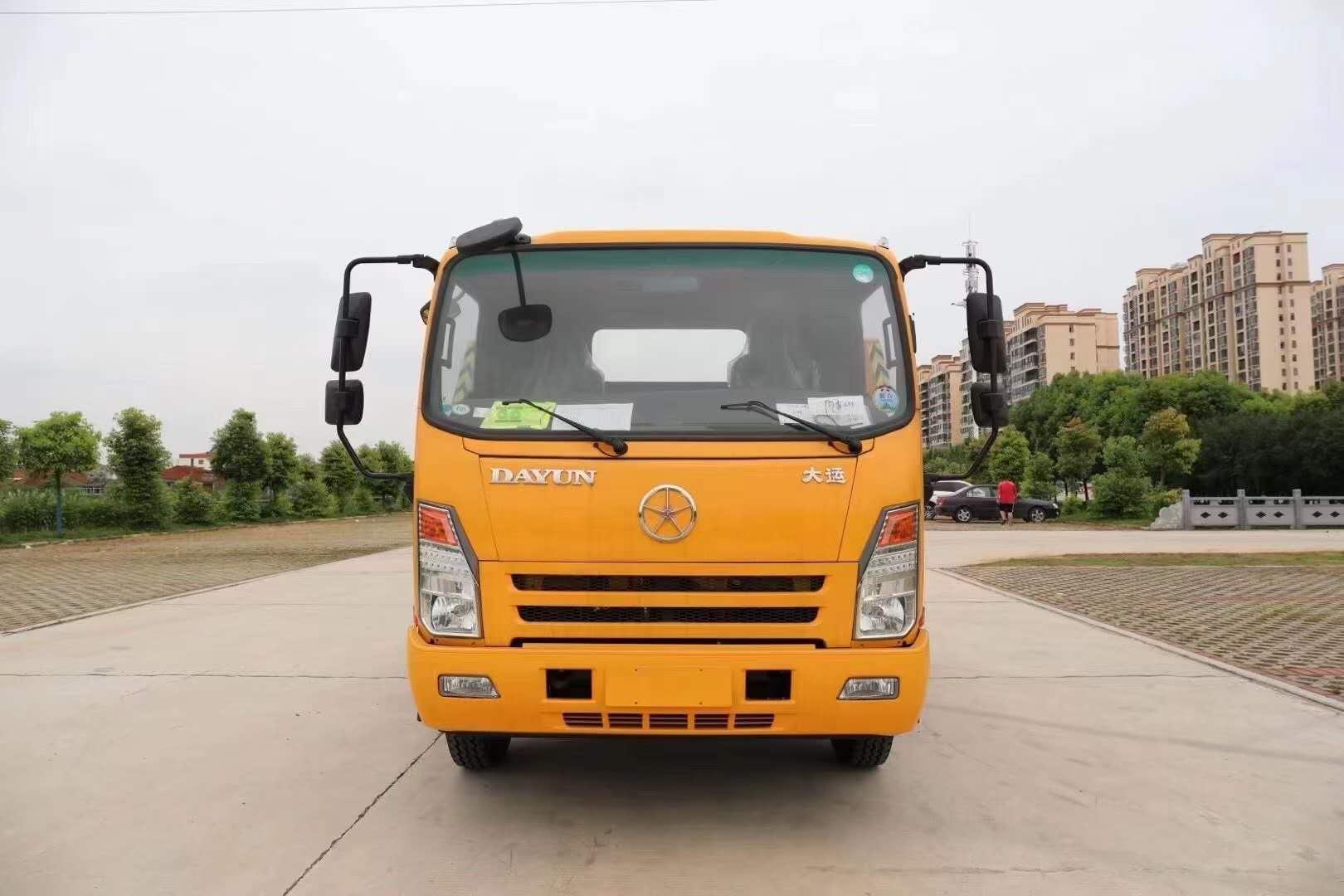 国六5吨救援拖车清障车价格大运拖车6.5米板5吨后托臂平板拖车图片