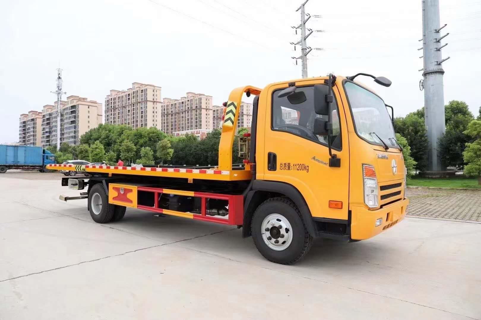 5噸大運一拖二平板拖車救援清障車價格玉柴發動機7噸后橋配置圖片