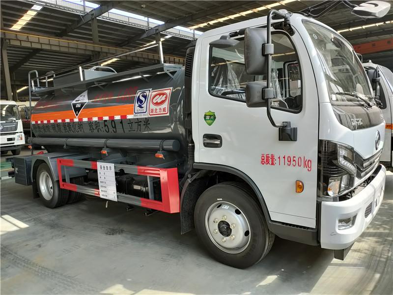 国六东风盐酸 硫酸 氢氧化钠5.91方腐蚀品罐式运输车视频视频