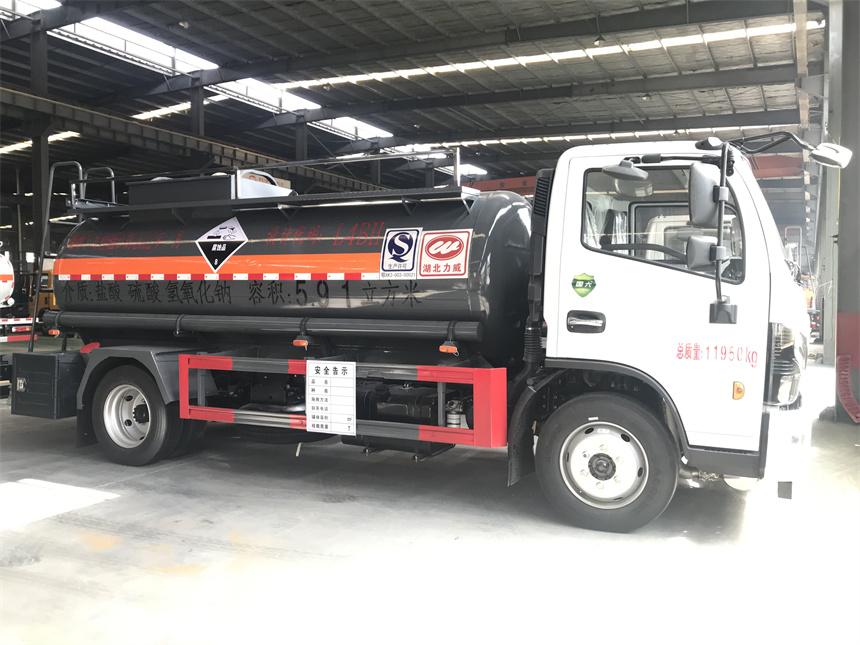 国六东风5吨硫酸 腐蚀性物品罐式运输车304不锈钢化工罐车批发价图片