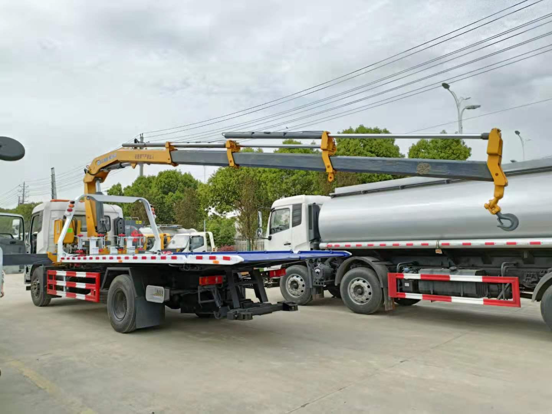 国六东风天锦8吨大平板带6吨徐工吊清障车拖车价格230马力