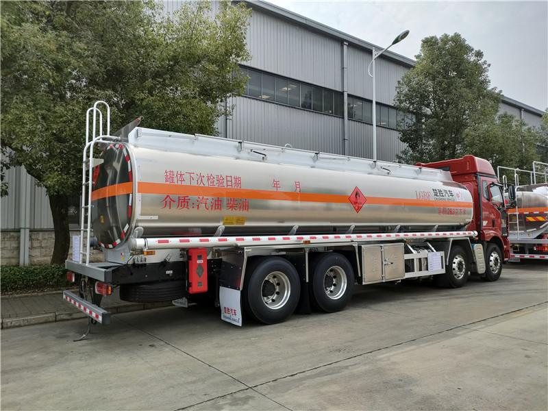 楚胜牌新款国六解放J6L前四后八22吨铝合金槽罐车优势多视频
