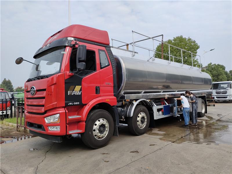 国六解放前四后八26.3方铝合金油罐车  楚胜牌CSC5321GYYL6A型铝合金运油车