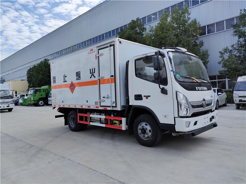 額載4.3噸危險品車 國六福田奧鈴4.1米爆破器材廂式車視頻視頻
