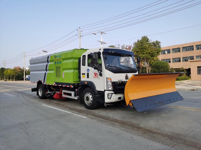 国六重汽豪沃洗扫车厂家图片加装除雪宽度3米除雪铲价格