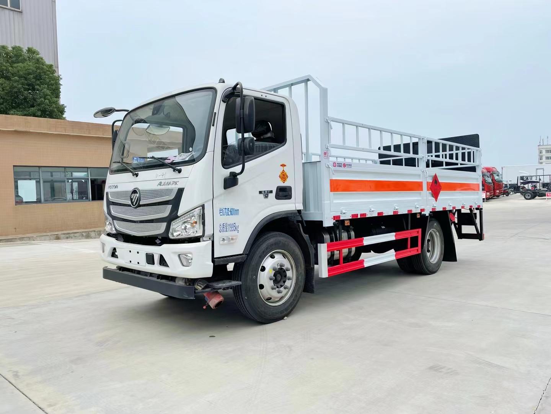 国六福田欧马可厢长5.15米气瓶运输车 额载7.2吨危险品液化气罐高栏车包上户