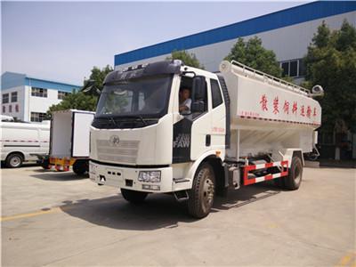 解放10吨散装饲料运输车10吨散装饲料车图片
