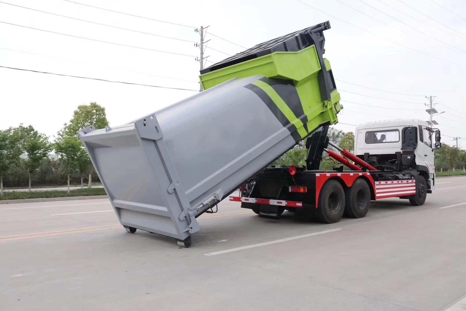 东风天龙18方勾臂垃圾车图片