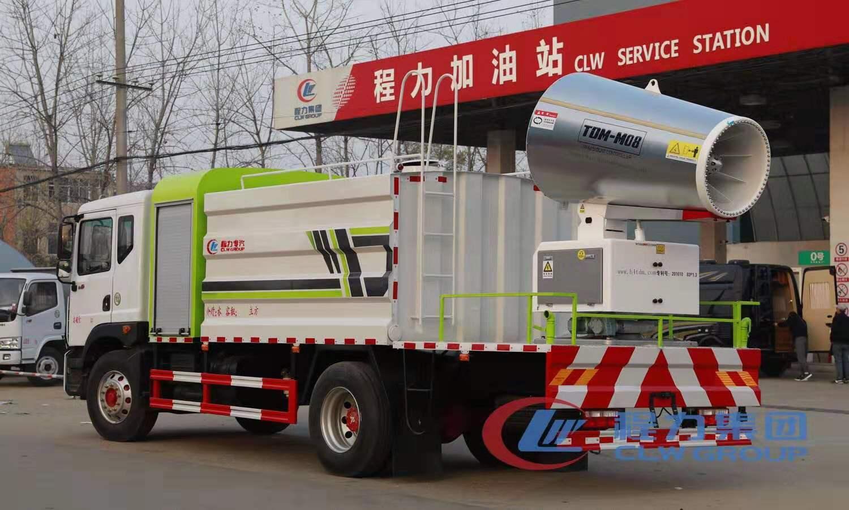 国六10吨东风大多利卡D9洒水车加装80米射程雾炮机组图片