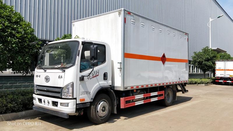解放5米15上户7.4吨易燃气体厢式运输车,潍柴140马力