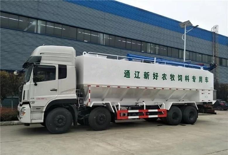 东风天龙420马力散装饲料车 高端智能饲料运输车