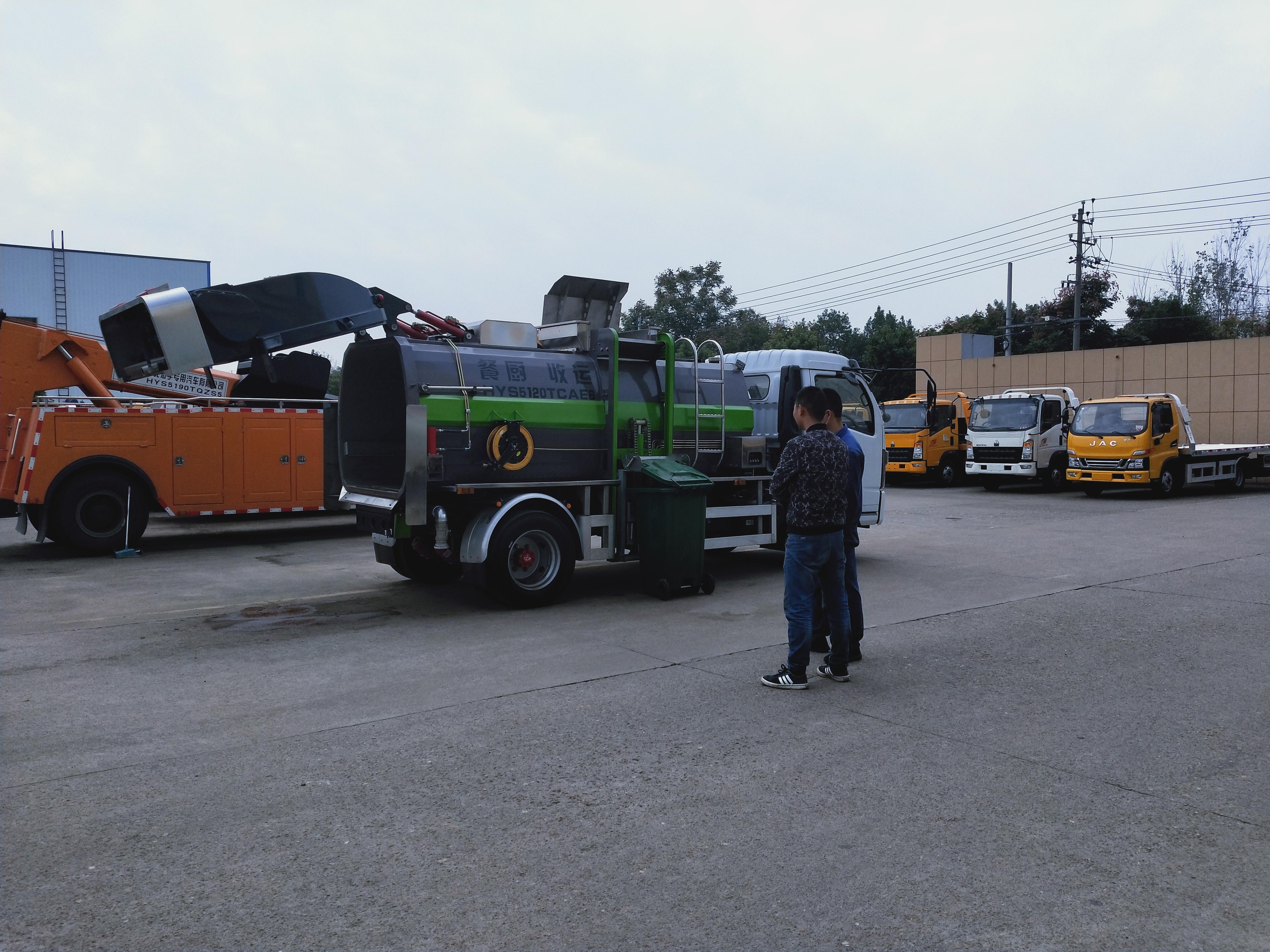 泔水垃圾车餐厨湿垃圾车挂桶垃圾车厂家操作视频