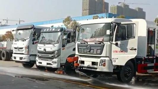 国六东风天锦抑尘车厂家100米雾炮车洒水车前冲功能视频