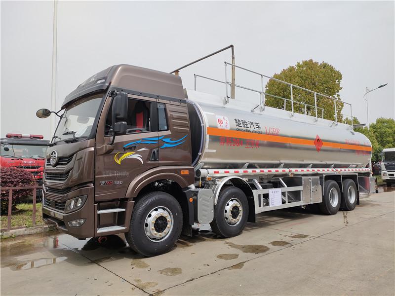 额载20吨(铝罐)解放悍V前四后八油罐车厂家 参数 视频