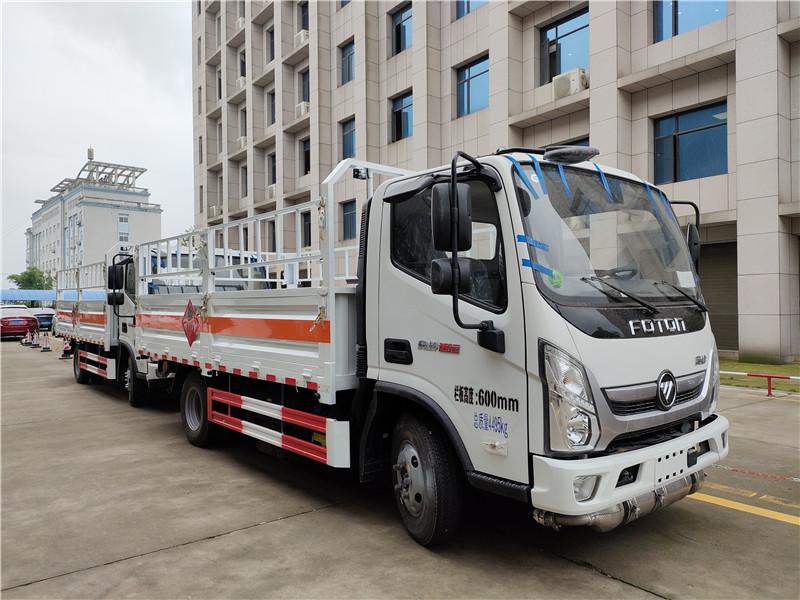 国六福田奥铃速运气瓶运输车 国六4.1米栏板气瓶车厂家