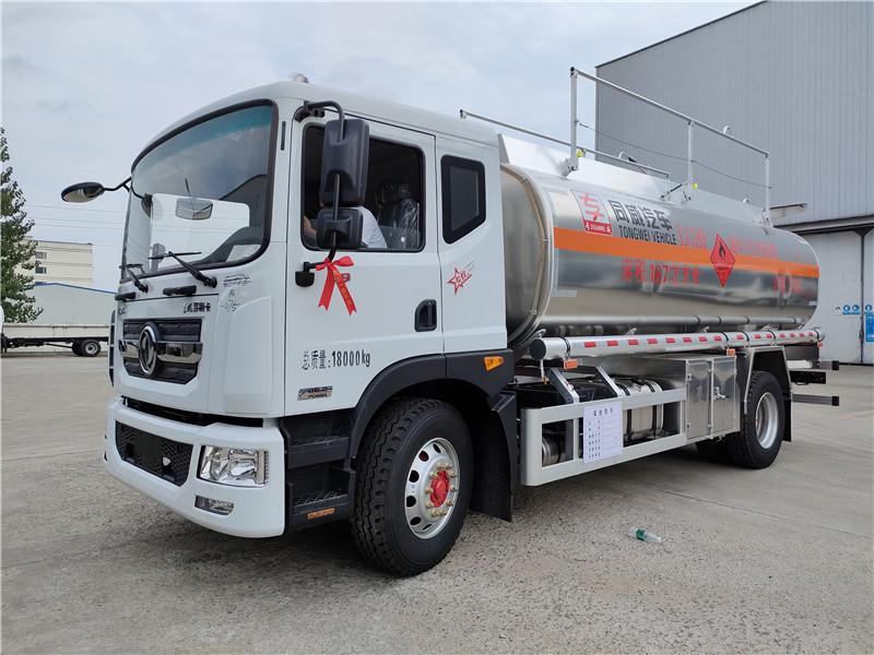 国六D9铝合金油罐车 16.7方运油车 单桥14吨油罐车视频