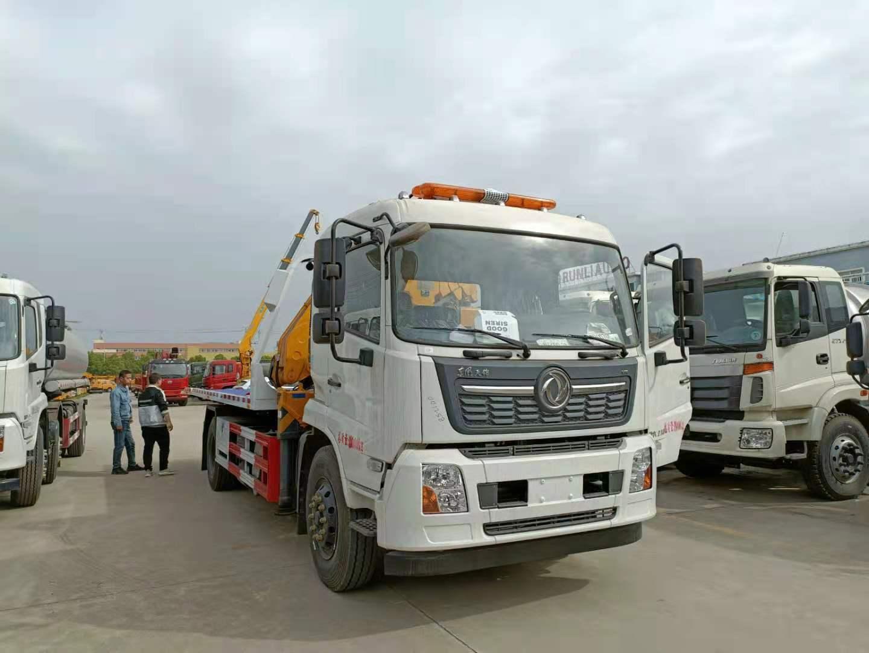 国六东风天锦8吨大平板带6吨徐工吊清障车拖车价格230马力图片